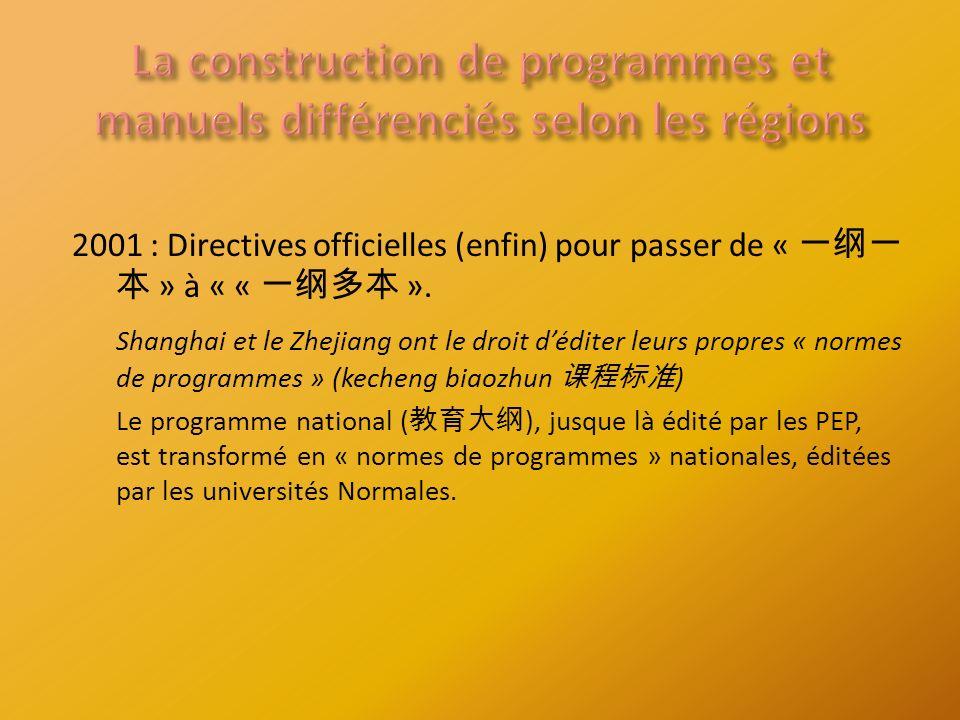 2001 : Directives officielles (enfin) pour passer de « » à « « ».