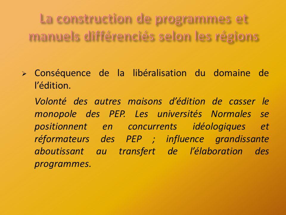 Conséquence de la libéralisation du domaine de lédition.