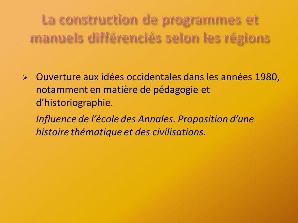 Ouverture aux idées occidentales dans les années 1980, notamment en matière de pédagogie et dhistoriographie.