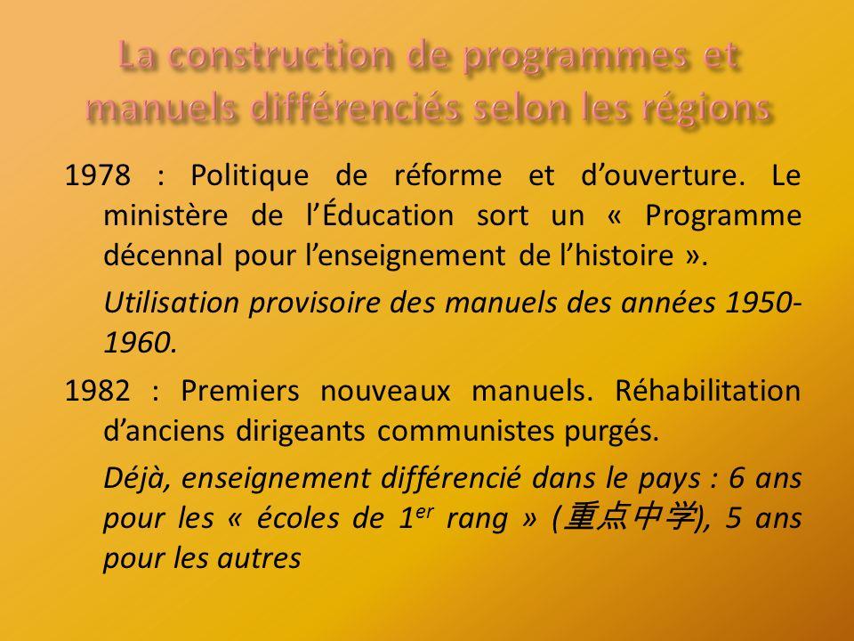 1978 : Politique de réforme et douverture.
