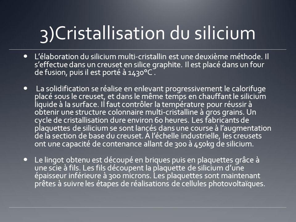 3)Cristallisation du silicium Lélaboration du silicium multi-cristallin est une deuxième méthode. Il seffectue dans un creuset en silice graphite. Il