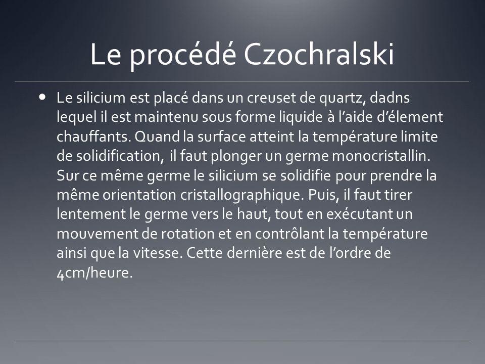 Le procédé Czochralski Le silicium est placé dans un creuset de quartz, dadns lequel il est maintenu sous forme liquide à laide délement chauffants. Q