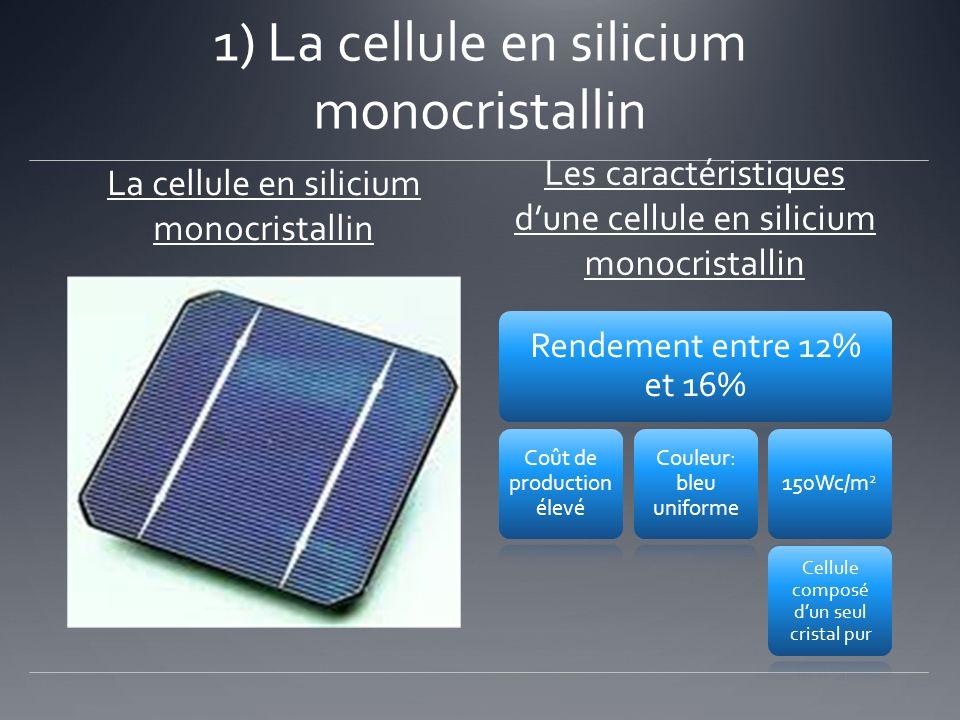 1) La cellule en silicium monocristallin La cellule en silicium monocristallin Les caractéristiques dune cellule en silicium monocristallin Rendement