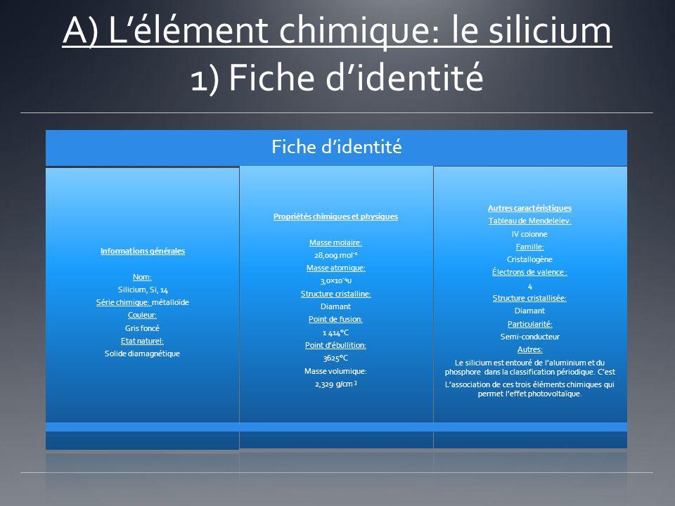 A) Lélément chimique: le silicium 1) Fiche didentité Fiche didentité Informations générales Nom: Silicium, Si, 14 Série chimique: métalloïde Couleur: