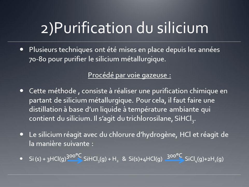 2)Purification du silicium Plusieurs techniques ont été mises en place depuis les années 70-80 pour purifier le silicium métallurgique. Procédé par vo