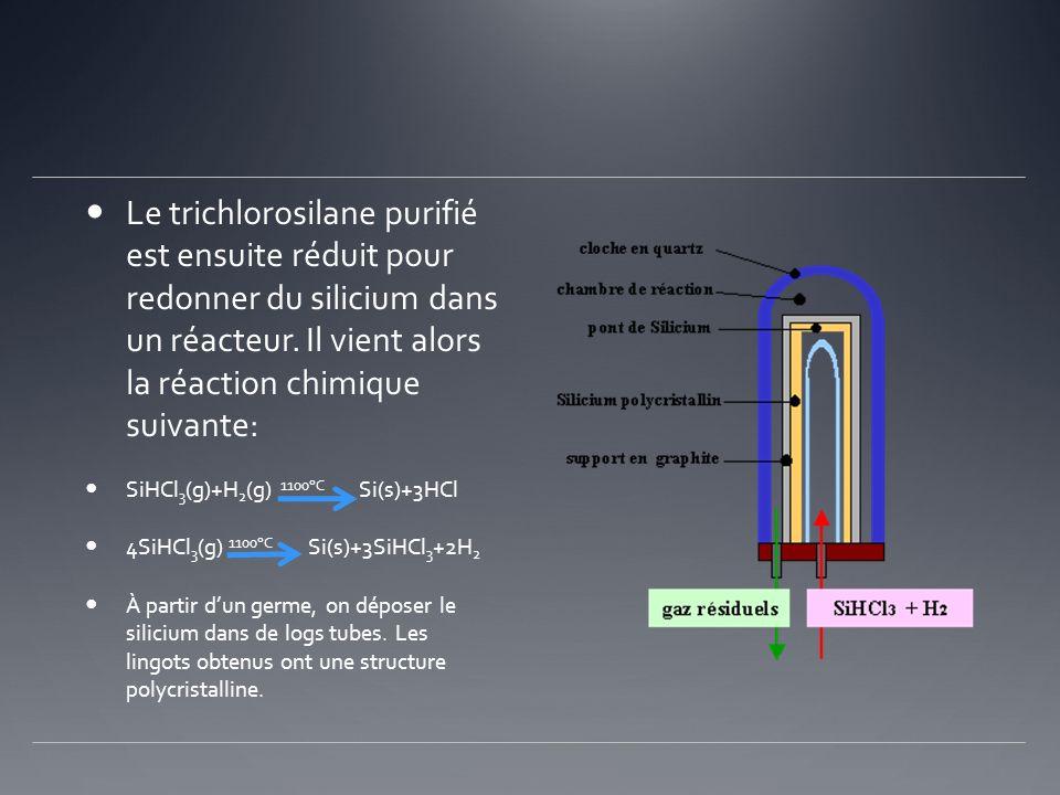 Le trichlorosilane purifié est ensuite réduit pour redonner du silicium dans un réacteur. Il vient alors la réaction chimique suivante: SiHCl 3 (g)+H
