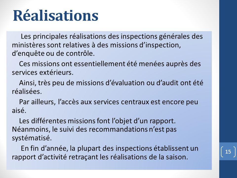Réalisations Les principales réalisations des inspections générales des ministères sont relatives à des missions dinspection, denquête ou de contrôle.