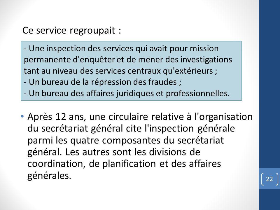 Ce service regroupait : Après 12 ans, une circulaire relative à l'organisation du secrétariat général cite l'inspection générale parmi les quatre comp