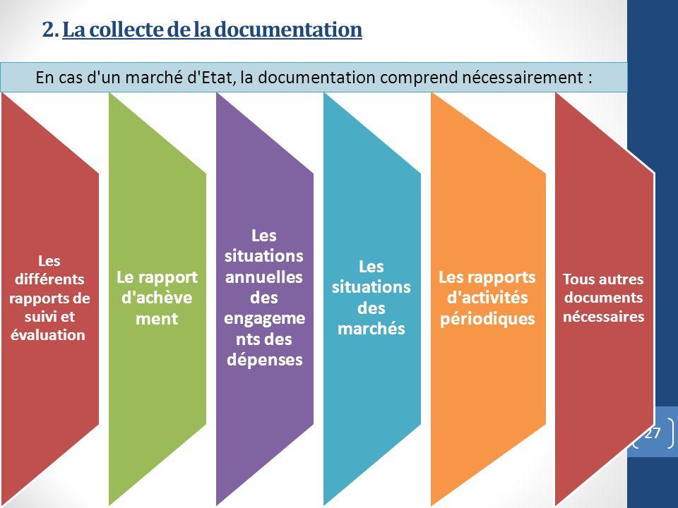 2. La collecte de la documentation 27 Les différents rapports de suivi et évaluation Le rapport d'achèvement Les situations annuelles des engageme nts