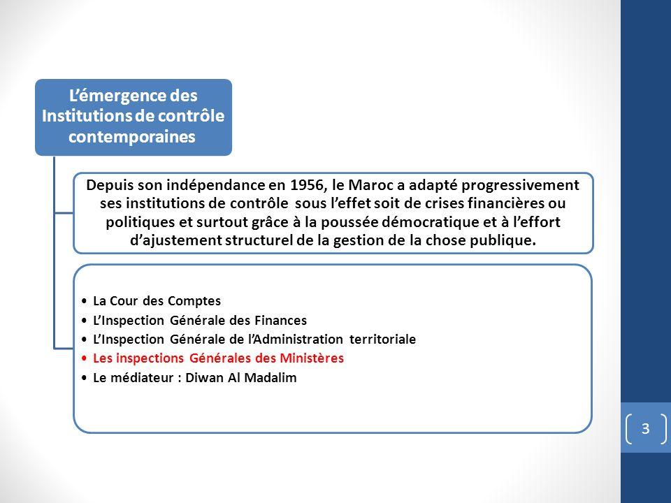 3 Lémergence des Institutions de contrôle contemporaines Depuis son indépendance en 1956, le Maroc a adapté progressivement ses institutions de contrô