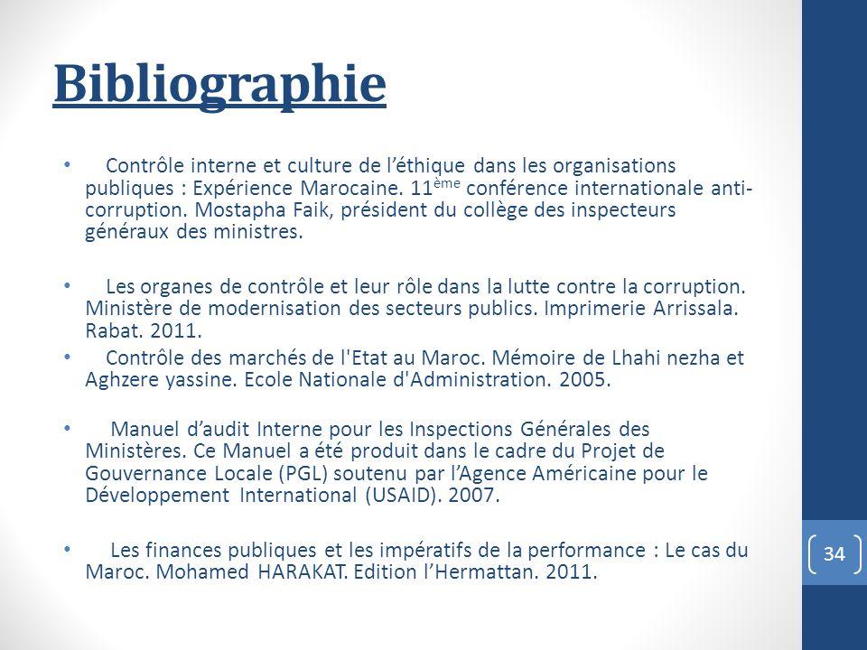 Bibliographie Contrôle interne et culture de léthique dans les organisations publiques : Expérience Marocaine.