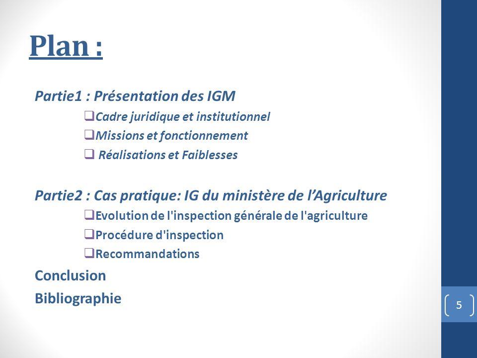 Plan : Partie1 : Présentation des IGM Cadre juridique et institutionnel Missions et fonctionnement Réalisations et Faiblesses Partie2 : Cas pratique: