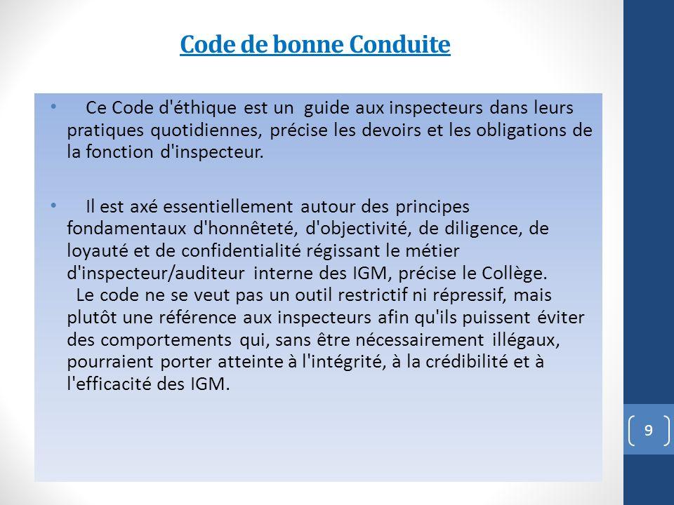 Code de bonne Conduite Ce Code d éthique est un guide aux inspecteurs dans leurs pratiques quotidiennes, précise les devoirs et les obligations de la fonction d inspecteur.