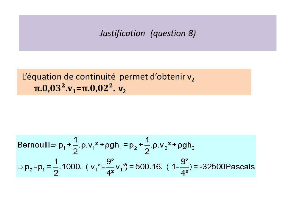 Justification (question 8) Léquation de continuité permet dobtenir v 2 π.0,03².v 1 =π.0,02². v 2
