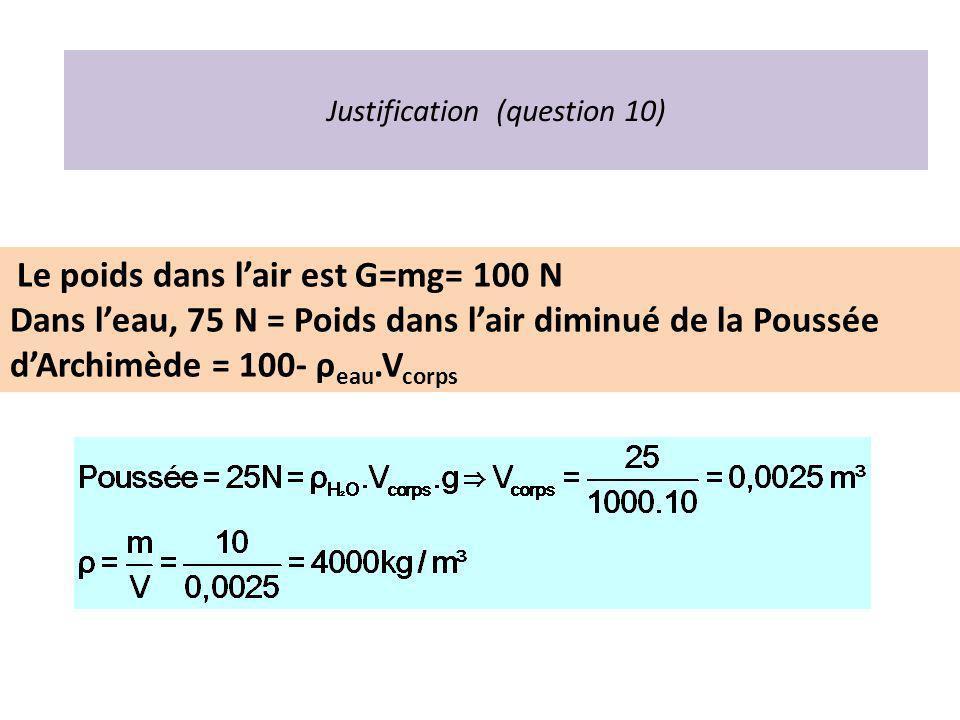 Justification (question 10) Le poids dans lair est G=mg= 100 N Dans leau, 75 N = Poids dans lair diminué de la Poussée dArchimède = 100- ρ eau.V corps