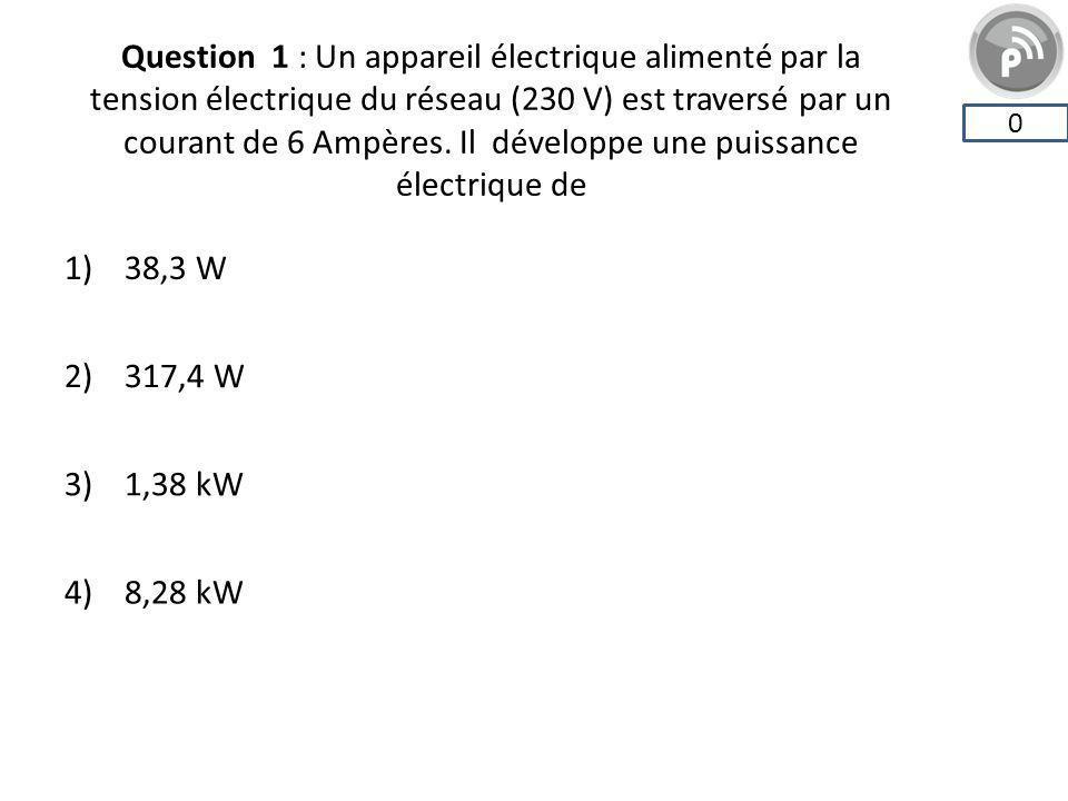 Question 1 : Un appareil électrique alimenté par la tension électrique du réseau (230 V) est traversé par un courant de 6 Ampères. Il développe une pu