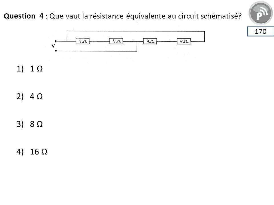 Question 4 : Que vaut la résistance équivalente au circuit schématisé? 170 1) 1 Ω 2) 4 Ω 3) 8 Ω 4) 16 Ω