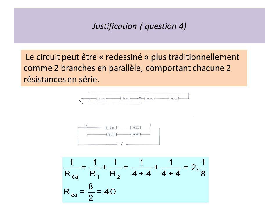 Justification ( question 4) Le circuit peut être « redessiné » plus traditionnellement comme 2 branches en parallèle, comportant chacune 2 résistances