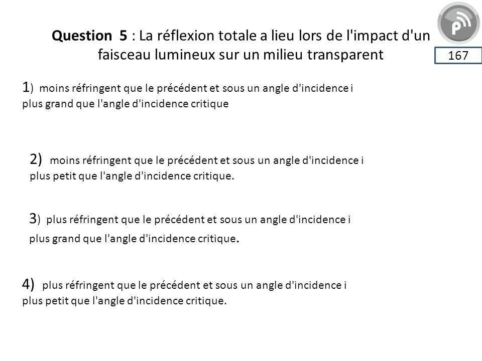 Question 5 : La réflexion totale a lieu lors de l'impact d'un faisceau lumineux sur un milieu transparent 167 1 ) moins réfringent que le précédent et