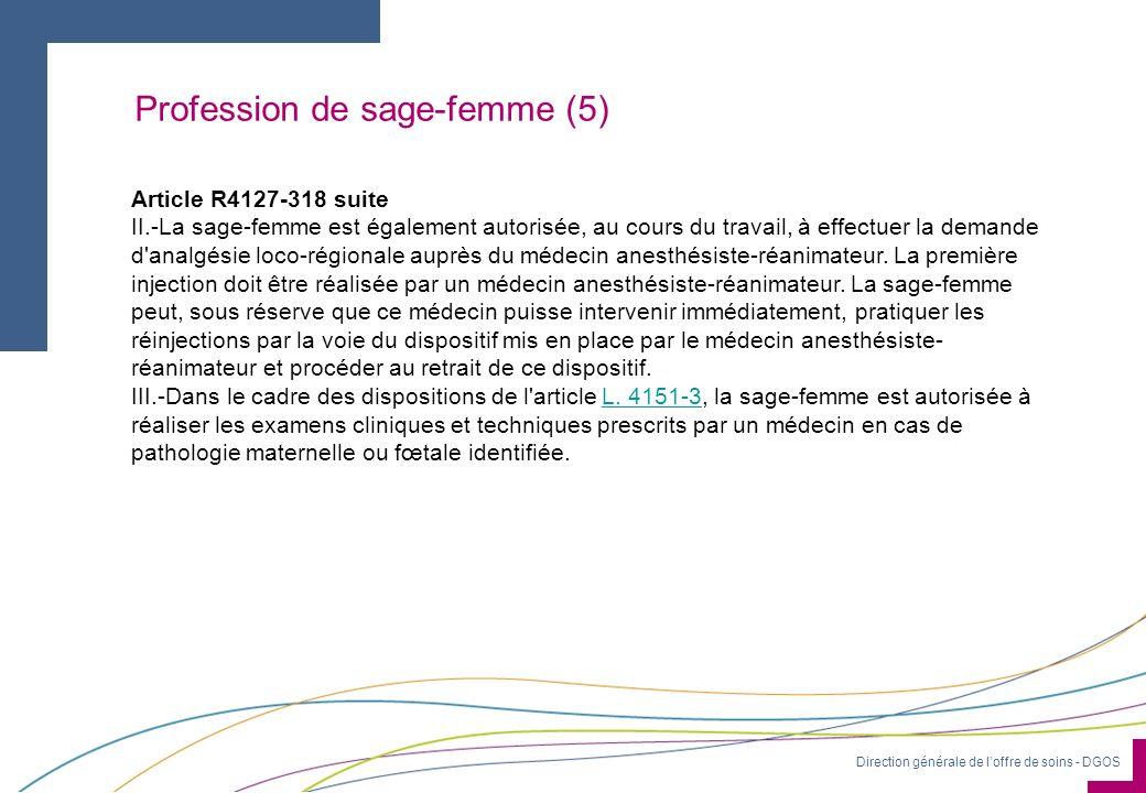 Direction générale de loffre de soins - DGOS Profession de sage-femme (5) Article R4127-318 suite II.-La sage-femme est également autorisée, au cours