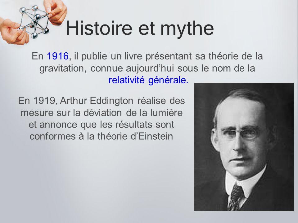 Histoire et mythe En 1916, il publie un livre présentant sa théorie de la gravitation, connue aujourdhui sous le nom de la relativité générale. En 191