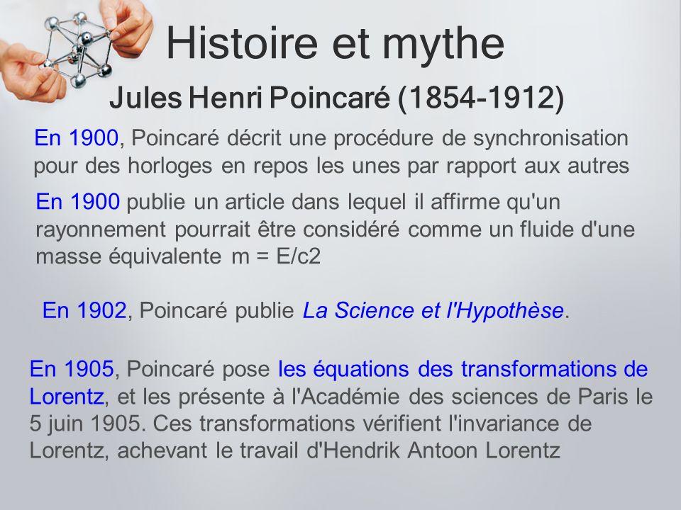 Histoire et mythe Jules Henri Poincaré (1854-1912) En 1905, Poincaré pose les équations des transformations de Lorentz, et les présente à l'Académie d