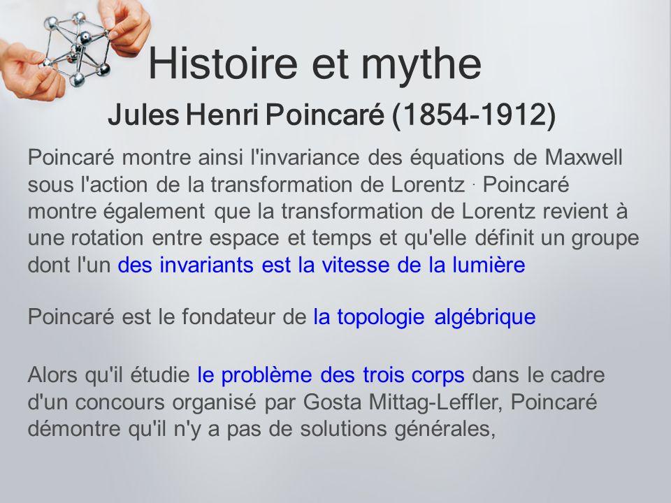 Histoire et mythe Jules Henri Poincaré (1854-1912) Poincaré montre ainsi l'invariance des équations de Maxwell sous l'action de la transformation de L