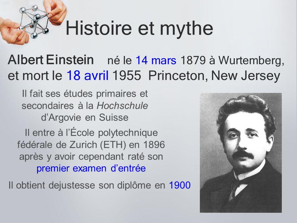 Histoire et mythe Albert Einstein né le 14 mars 1879 à Wurtemberg, et mort le 18 avril 1955 Princeton, New Jersey Il entre à lÉcole polytechnique fédé