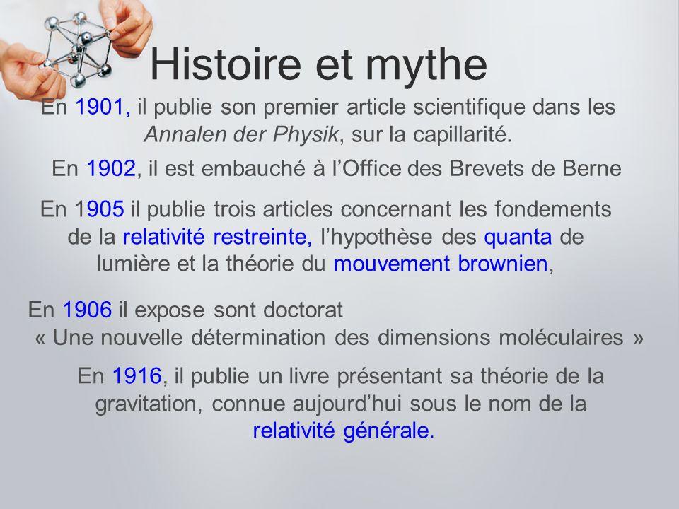 Histoire et mythe En 1901, il publie son premier article scientifique dans les Annalen der Physik, sur la capillarité. En 1905 il publie trois article