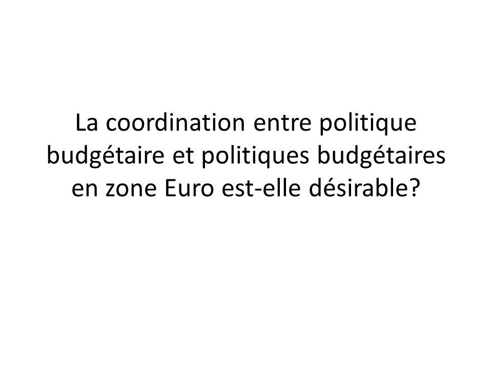 La coordination entre politique budgétaire et politiques budgétaires en zone Euro est-elle désirable?