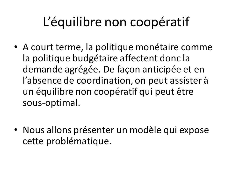 Léquilibre non coopératif A court terme, la politique monétaire comme la politique budgétaire affectent donc la demande agrégée. De façon anticipée et