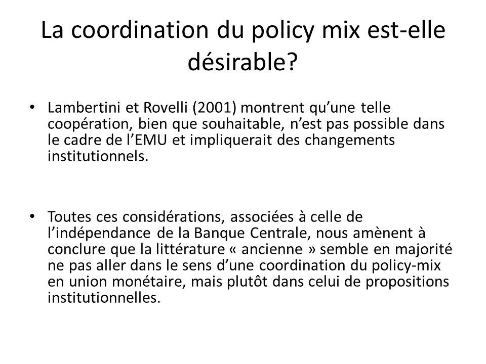 Lambertini et Rovelli (2001) montrent quune telle coopération, bien que souhaitable, nest pas possible dans le cadre de lEMU et impliquerait des chang