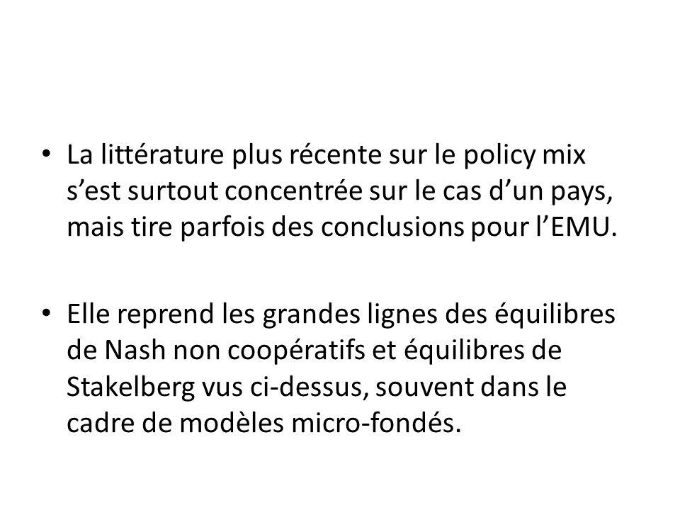 La littérature plus récente sur le policy mix sest surtout concentrée sur le cas dun pays, mais tire parfois des conclusions pour lEMU. Elle reprend l