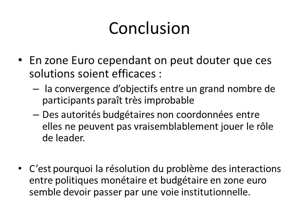 En zone Euro cependant on peut douter que ces solutions soient efficaces : – la convergence dobjectifs entre un grand nombre de participants paraît tr