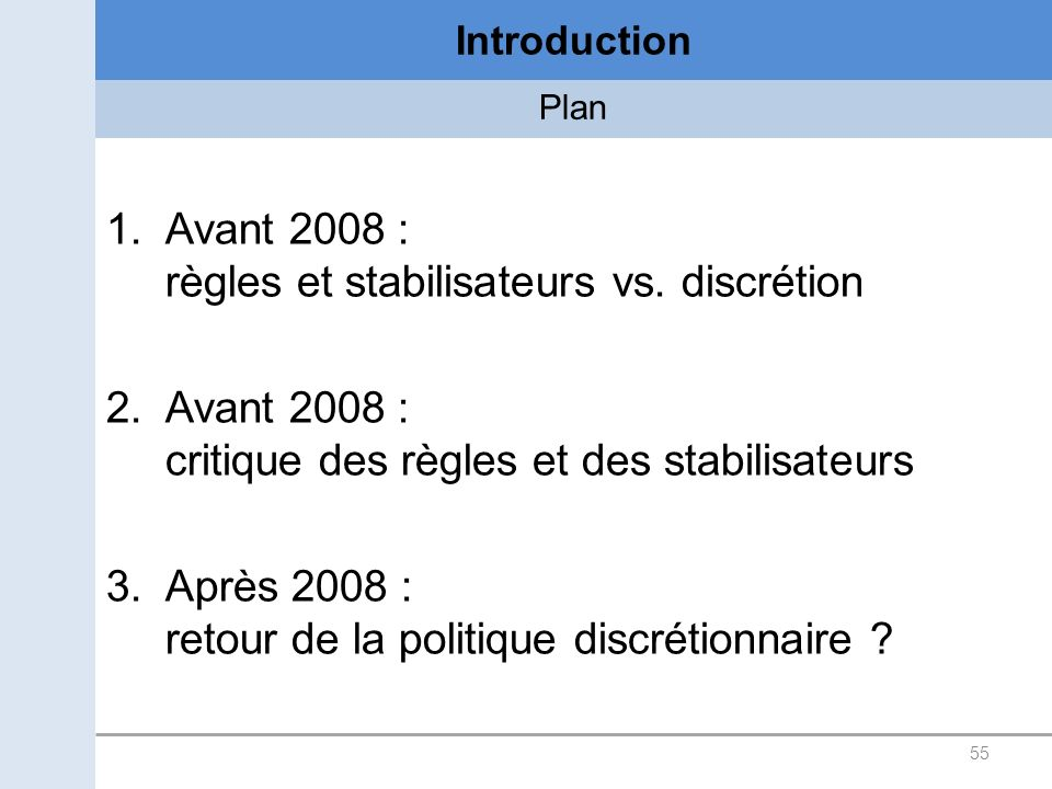 55 Introduction Plan 1.Avant 2008 : règles et stabilisateurs vs.