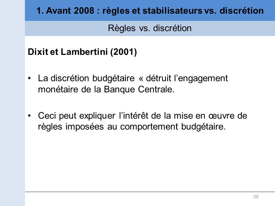 56 1. Avant 2008 : règles et stabilisateurs vs. discrétion Règles vs. discrétion Dixit et Lambertini (2001) La discrétion budgétaire « détruit lengage