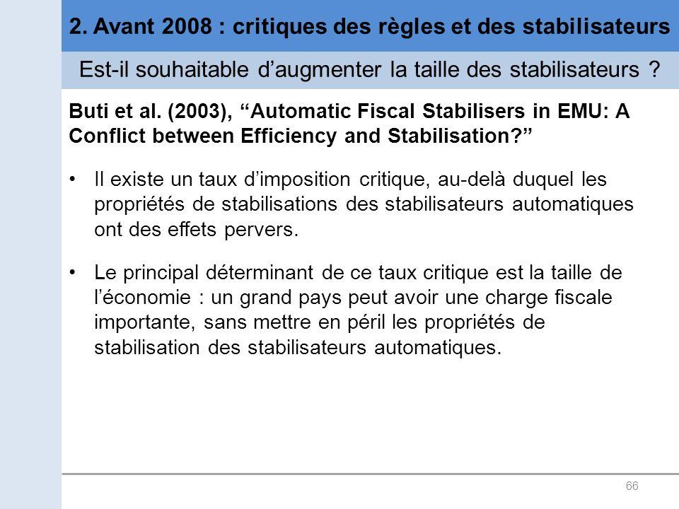 66 2. Avant 2008 : critiques des règles et des stabilisateurs Est-il souhaitable daugmenter la taille des stabilisateurs ? Buti et al. (2003), Automat