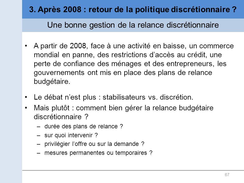 67 3. Après 2008 : retour de la politique discrétionnaire ? Une bonne gestion de la relance discrétionnaire A partir de 2008, face à une activité en b