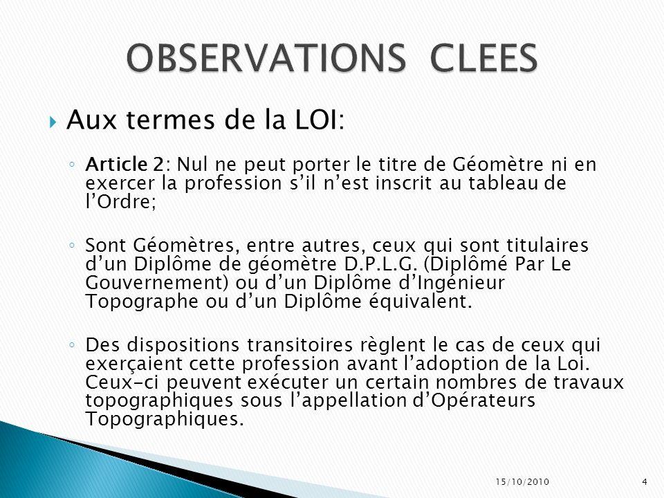 Aux termes de la LOI: Article 2: Nul ne peut porter le titre de Géomètre ni en exercer la profession sil nest inscrit au tableau de lOrdre; Sont Géomè