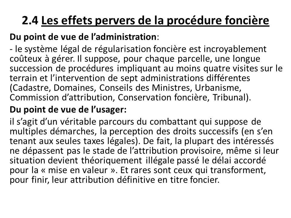 2.4 Les effets pervers de la procédure foncière Du point de vue de ladministration: - le système légal de régularisation foncière est incroyablement c
