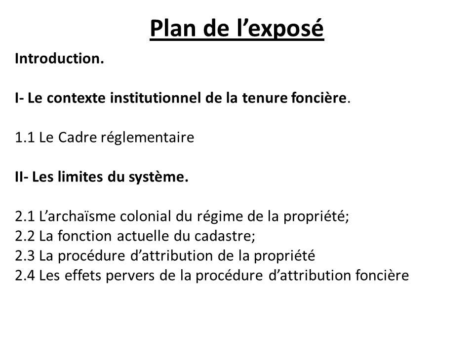 Plan de lexposé Introduction. I- Le contexte institutionnel de la tenure foncière. 1.1 Le Cadre réglementaire II- Les limites du système. 2.1 Larchaïs