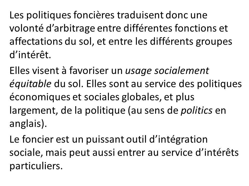 Les politiques foncières traduisent donc une volonté darbitrage entre différentes fonctions et affectations du sol, et entre les différents groupes di