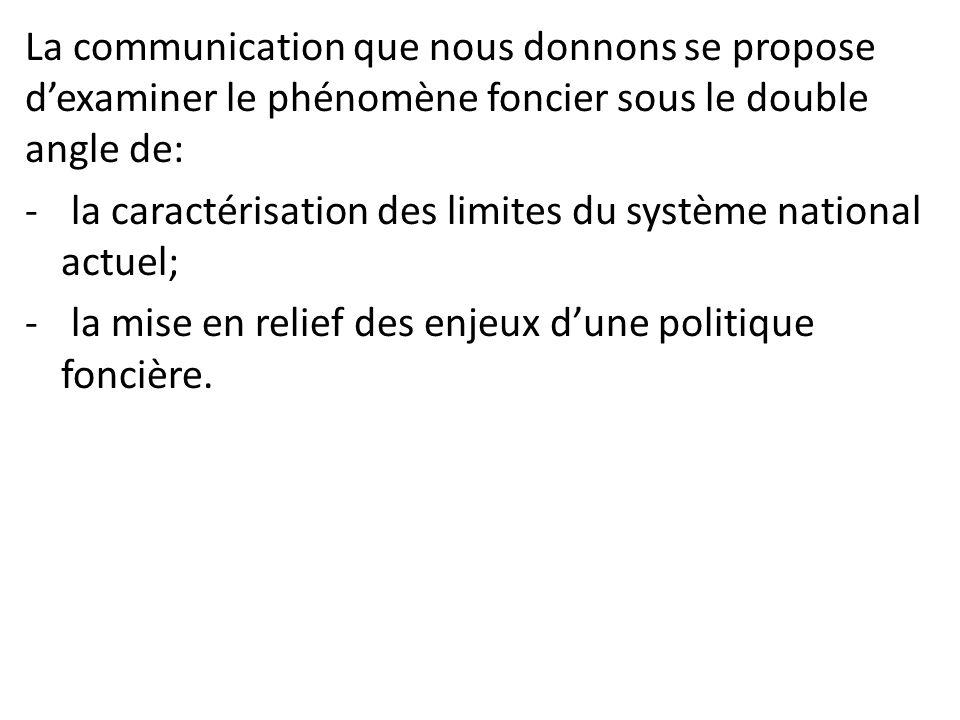 La communication que nous donnons se propose dexaminer le phénomène foncier sous le double angle de: - la caractérisation des limites du système natio