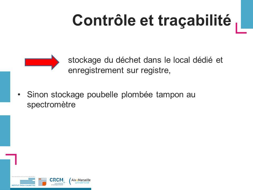 stockage du déchet dans le local dédié et enregistrement sur registre, Sinon stockage poubelle plombée tampon au spectromètre Contrôle et traçabilité