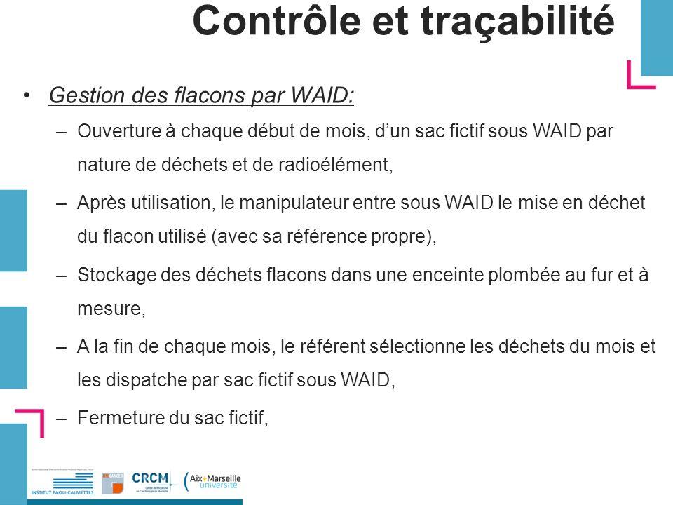 Contrôle et traçabilité Gestion des flacons par WAID: –Ouverture à chaque début de mois, dun sac fictif sous WAID par nature de déchets et de radioélé