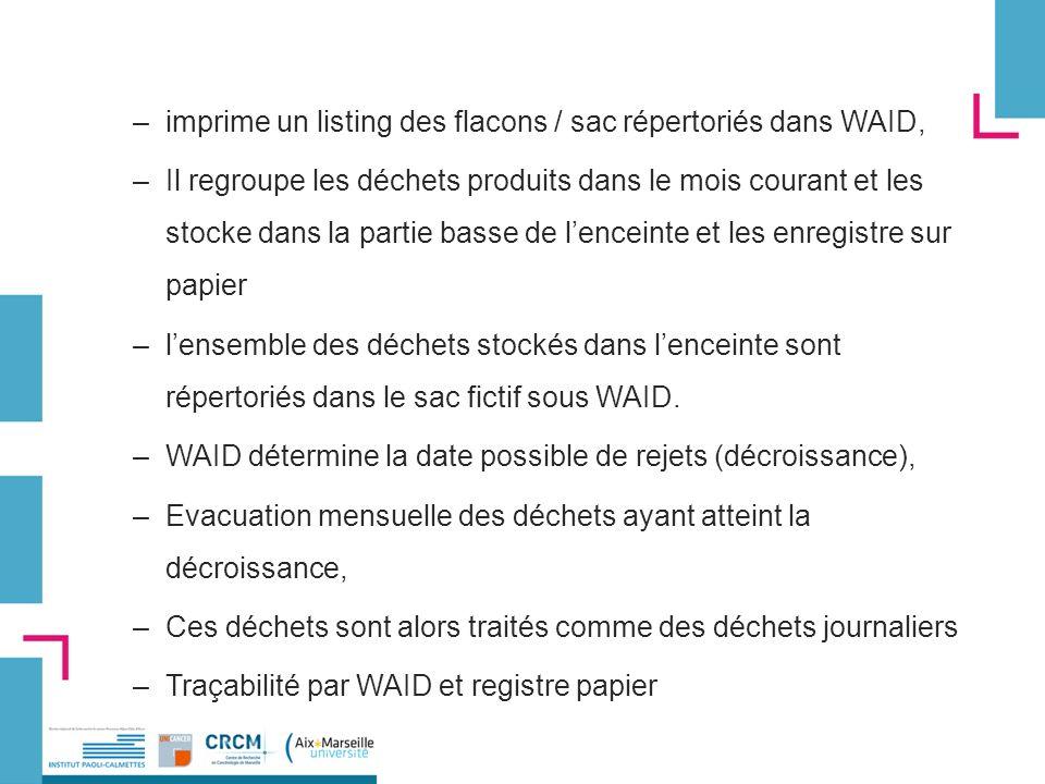 –imprime un listing des flacons / sac répertoriés dans WAID, –Il regroupe les déchets produits dans le mois courant et les stocke dans la partie basse de lenceinte et les enregistre sur papier –lensemble des déchets stockés dans lenceinte sont répertoriés dans le sac fictif sous WAID.