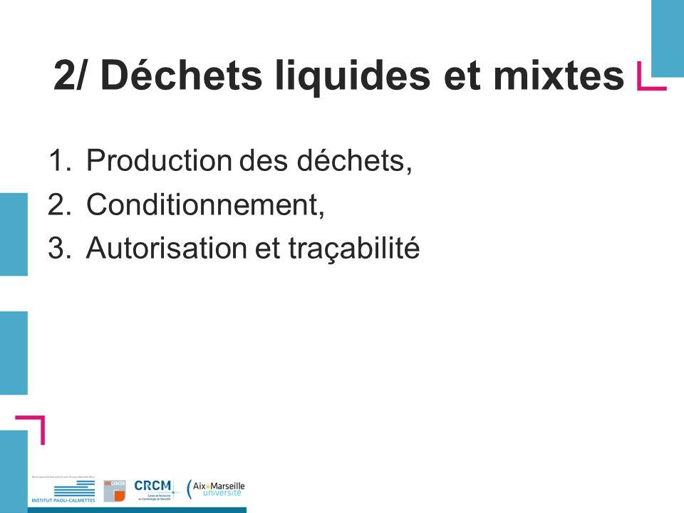 2/ Déchets liquides et mixtes 1.Production des déchets, 2.Conditionnement, 3.Autorisation et traçabilité