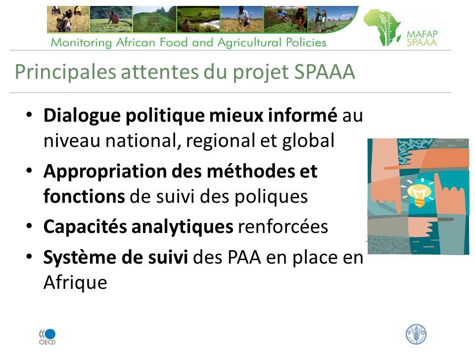 Principales attentes du projet SPAAA Dialogue politique mieux informé au niveau national, regional et global Appropriation des méthodes et fonctions de suivi des poliques Capacités analytiques renforcées Système de suivi des PAA en place en Afrique
