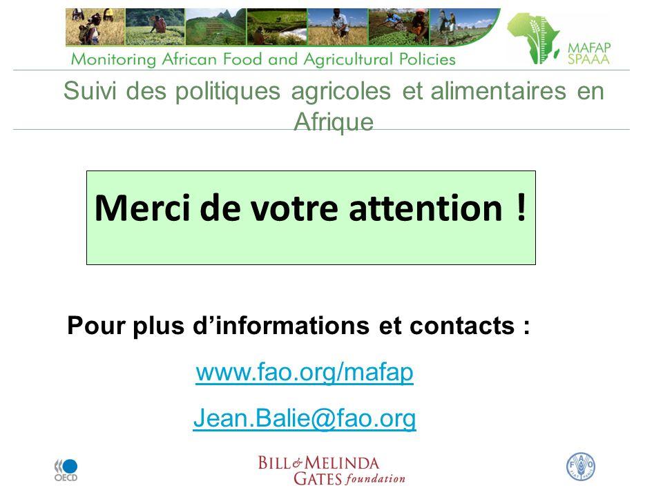Suivi des politiques agricoles et alimentaires en Afrique Merci de votre attention .