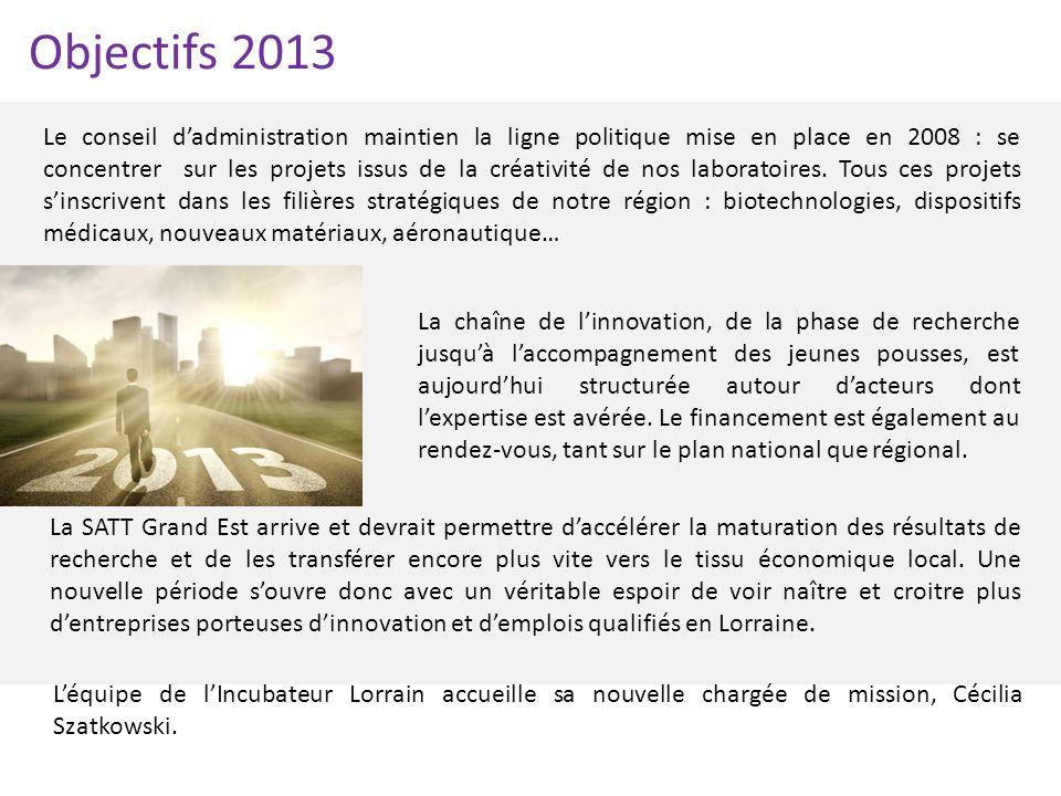 Objectifs 2013 Le conseil dadministration maintien la ligne politique mise en place en 2008 : se concentrer sur les projets issus de la créativité de
